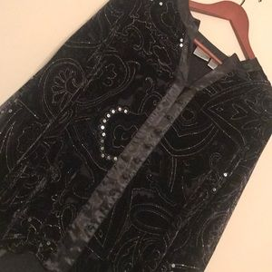 Chico's Black Velvet and Sequin Blouse - Size S